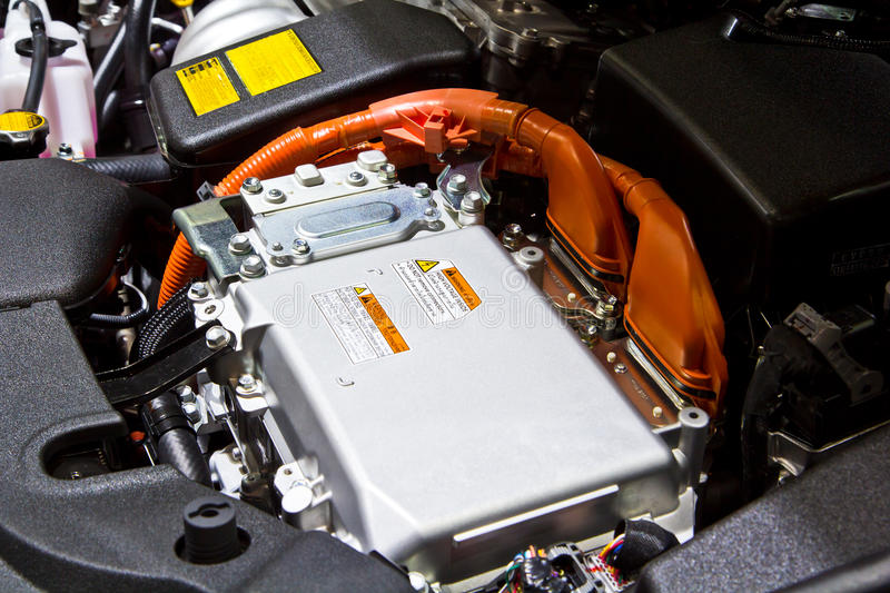 Battery and hybrid engine. For a car royalty free stock photos