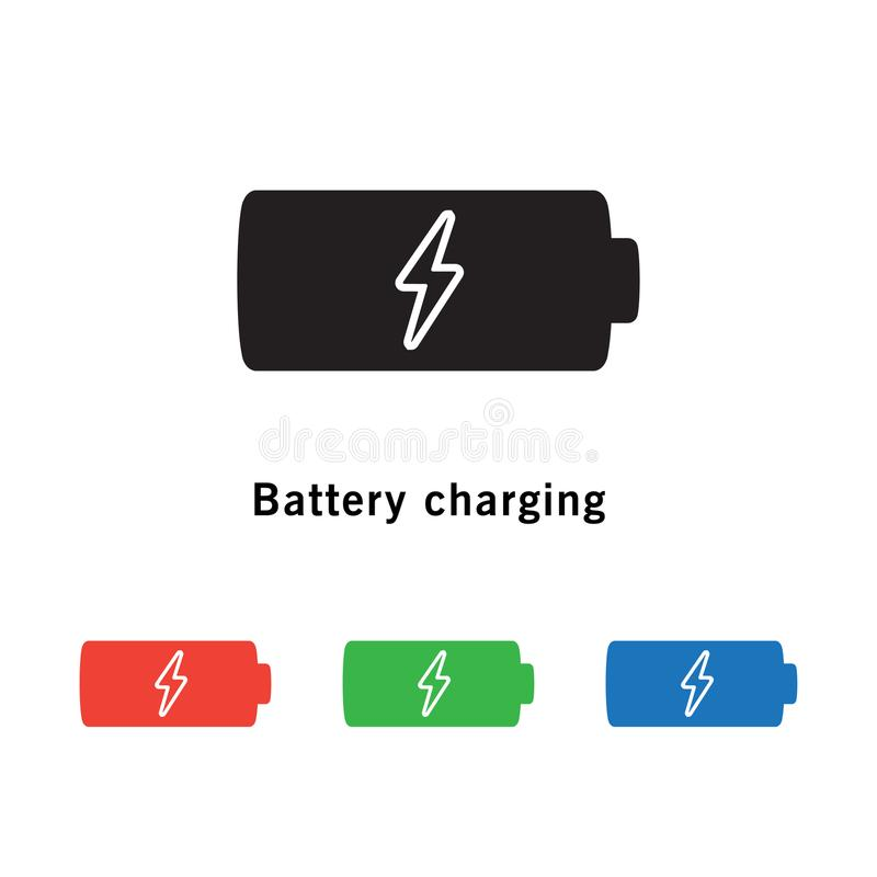 Battery Icon With Power Charging Symbol On White Background Stock