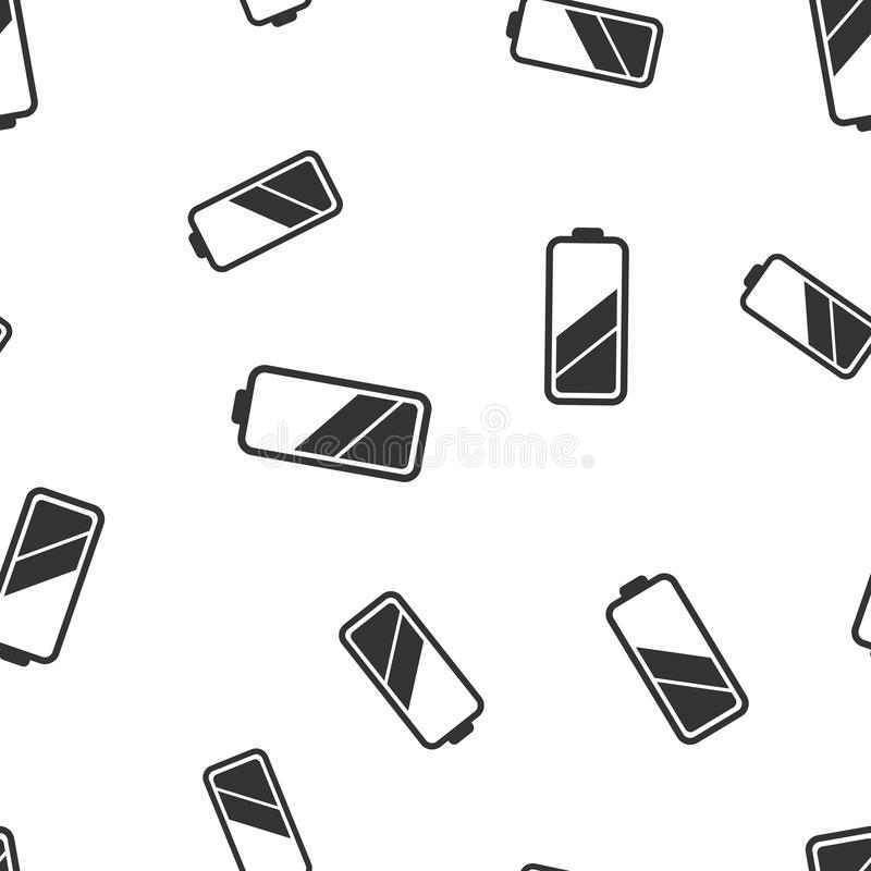 Battery Icon Seamless Pattern Background. Business Flat Vector I ...