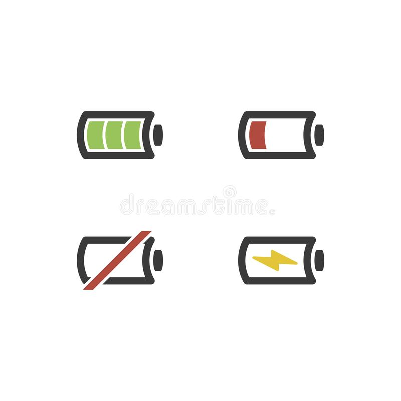 Battery icon set .Set of battery charge level indicators. Battery icon set .Set of battery charge level indicators vector illustration