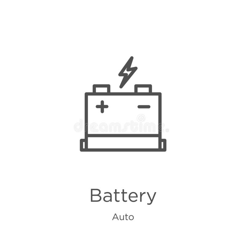 battery icon vector from auto collection. Thin line battery outline icon vector illustration. Outline, thin line battery icon for stock illustration