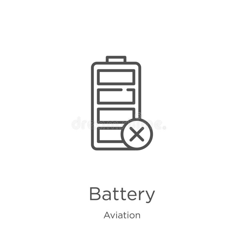 Battery icon vector from aviation collection. Thin line battery outline icon vector illustration. Outline, thin line battery icon. Battery icon. Element of stock illustration