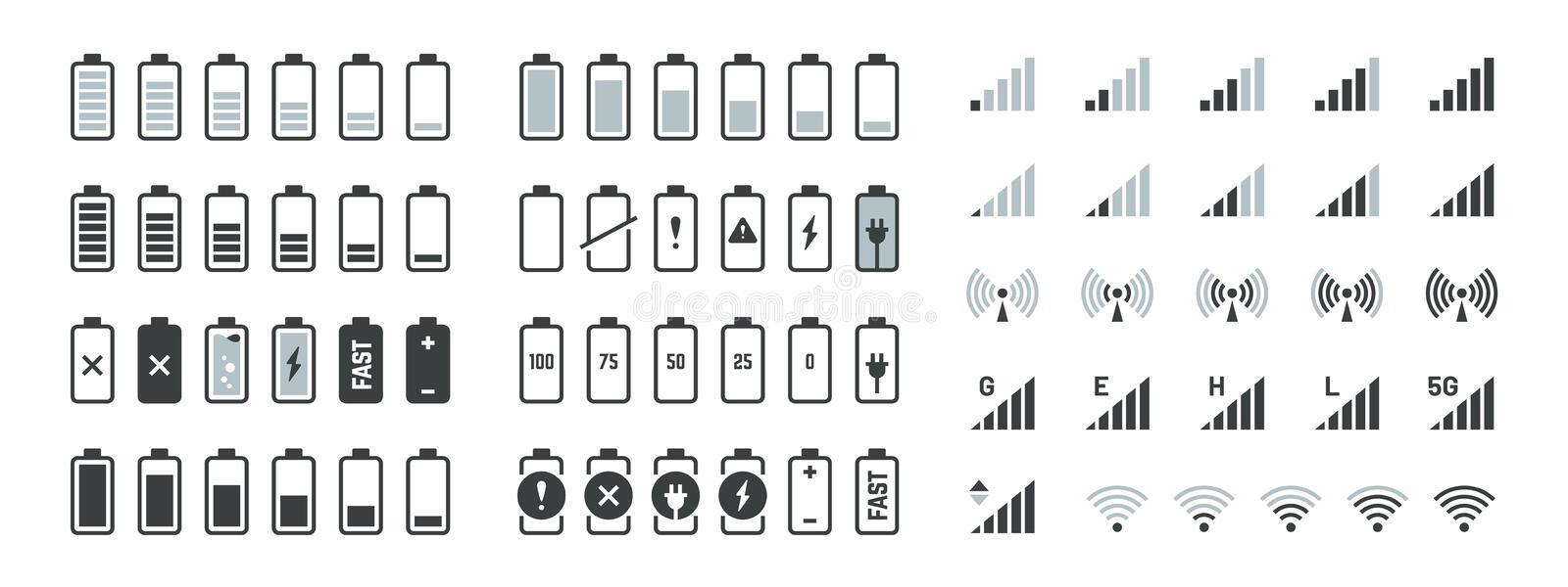 Battery icons. Black charge level gsm and wifi signal strength, smartphone UI elements set. Vector full low and empty. Charge status, smart sign progression stock illustration