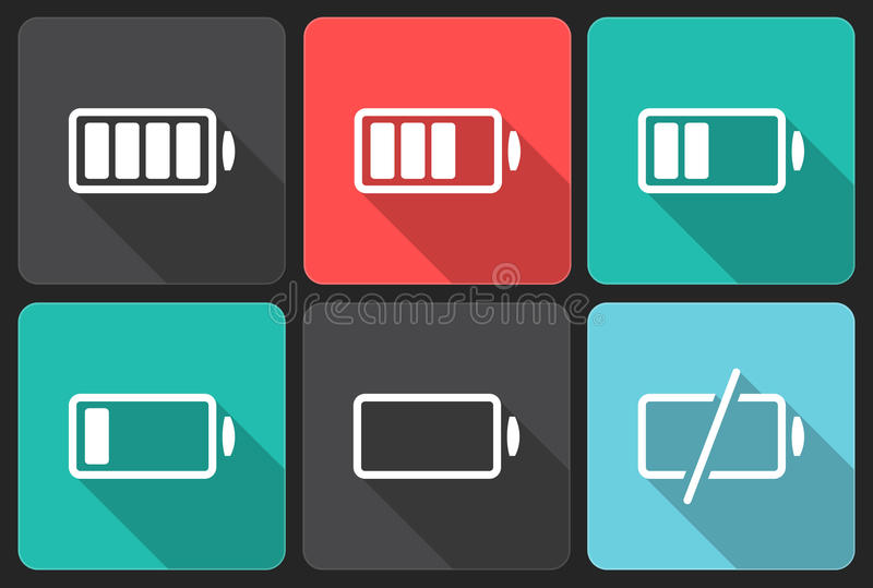 The battery icons. Flat icons with shadow stock illustration
