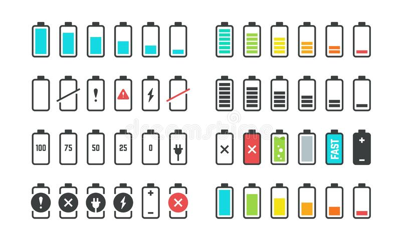 Battery icons. Phone charge level, UI design elements of battery percentage, full low and empty battery status. Vector. Isolated set phone power from low to royalty free illustration