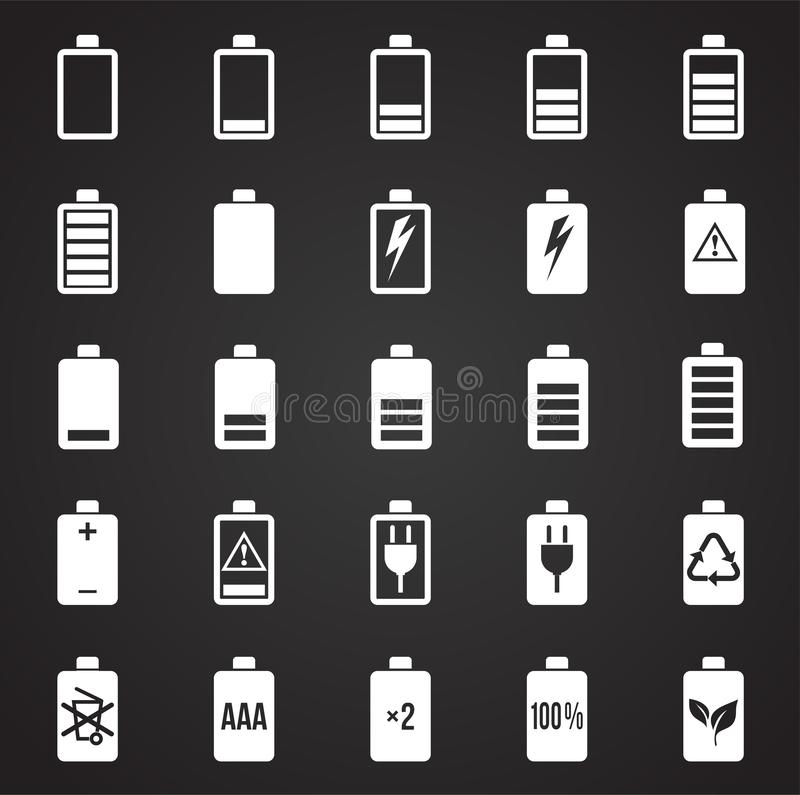 Battery icons set on black background for graphic and web design, Modern simple vector sign. Internet concept. Trendy symbol for. Website design web button or vector illustration