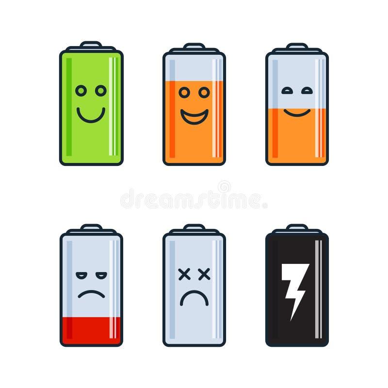 Battery indicator icons stock illustration