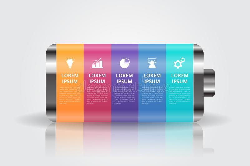 Battery Infographics template for business, education, web design, banners, brochures, flyers. Vector illustration stock illustration