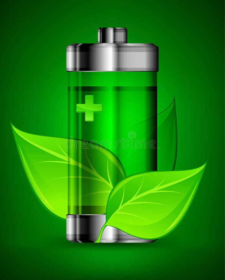 Download Battery with leaves stock vector. Image of acid, symbol - 25809134