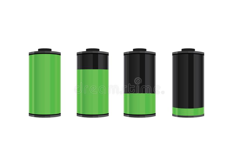 Battery Level From Full Power to Lower Power Vector Illustration. Battery level from full to low power vector illustration vector illustration
