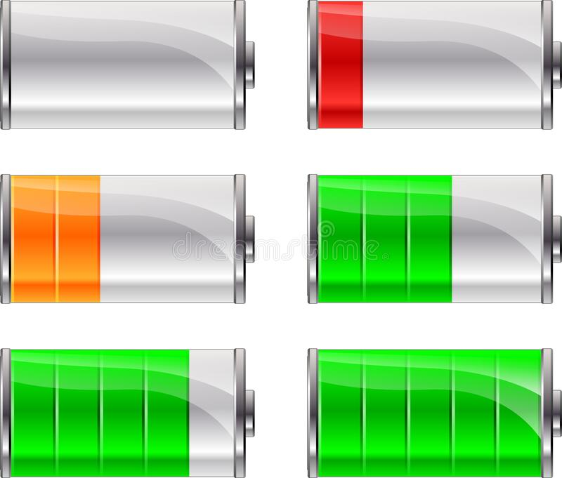 Battery level icons. Illustration of battery level icons on white background royalty free illustration