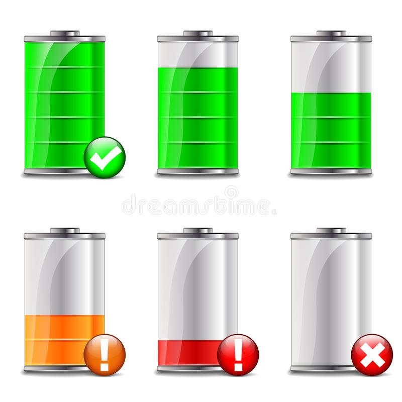Battery level icons. Illustration of battery level icons on white background vector illustration