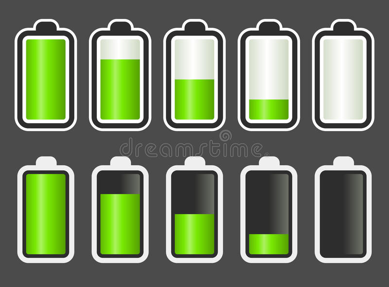 Battery Level indicator. Set of battery level indicators stock illustration