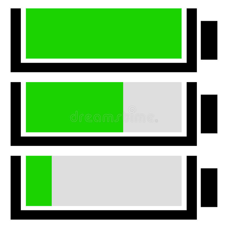 Battery level indicator set. Flat battery icons. Royalty free vector illustration royalty free illustration