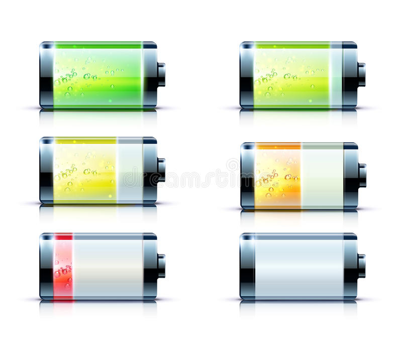 Download Battery level indicators stock vector. Illustration of green - 26415919
