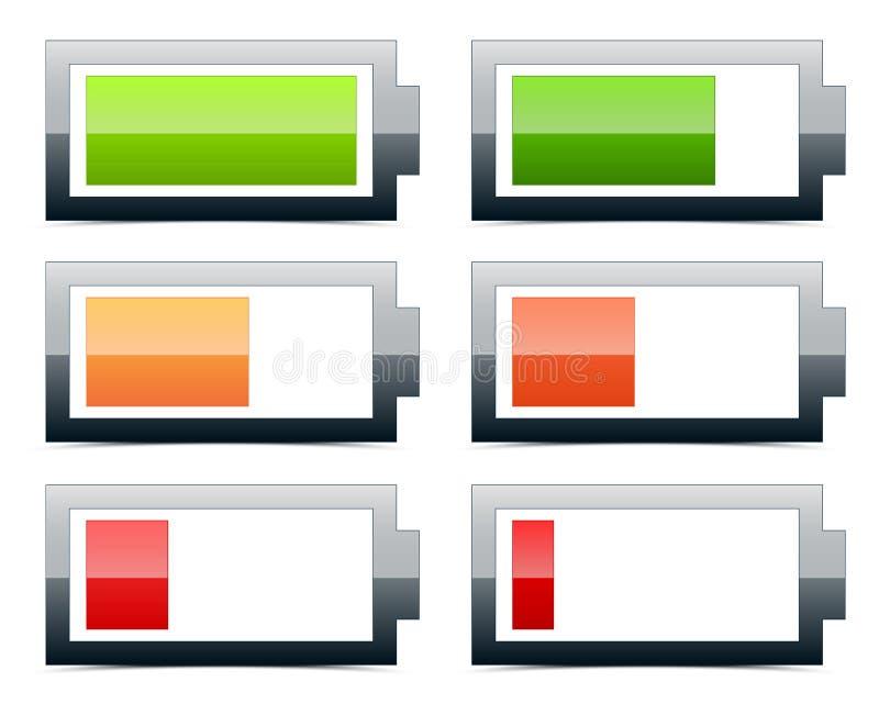 Battery level indicators. Battery symbols, running low on battery vector illustration