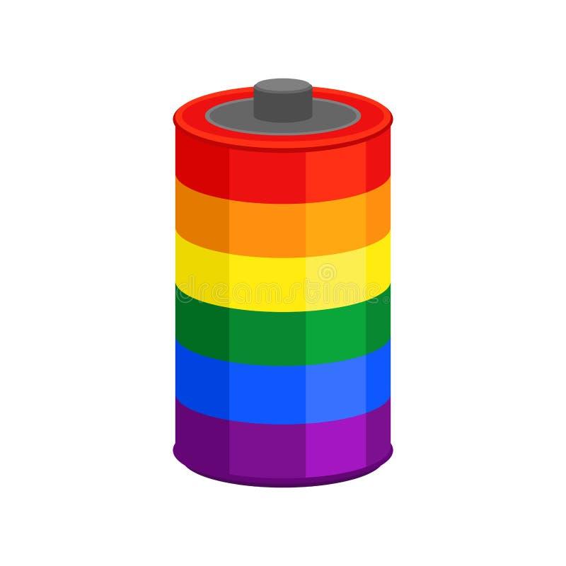 Battery LGBT flag isolated. accumulator Rainbow color Cartoon Style multicolored stock illustration