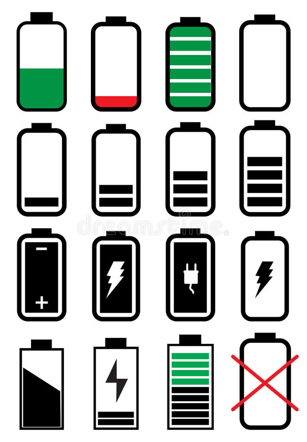 Battery life icons set vector illustration