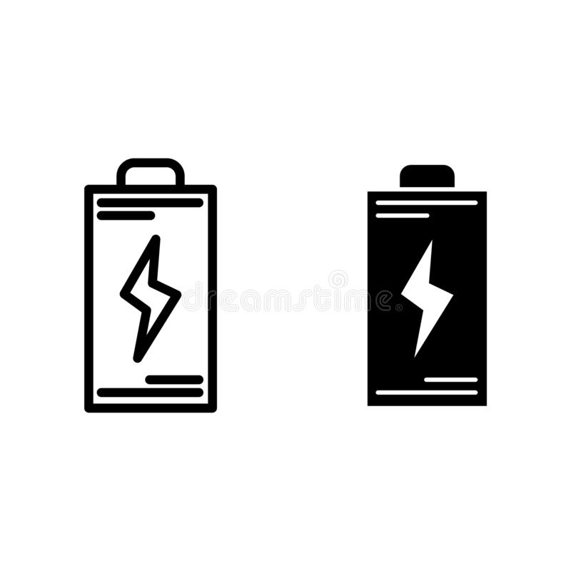 Battery line and glyph icon. Energy vector illustration isolated on white. Accumulator outline style design, designed. For web and app. Eps 10 stock illustration