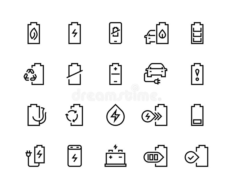Battery line icons. Electric energy charger car charge low electricity level sign phone charging lithium recycle royalty free illustration