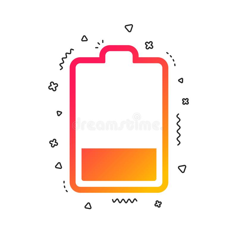 Battery low level sign icon. Electricity symbol. Vector. Battery low level sign icon. Electricity symbol. Colorful geometric shapes. Gradient battery icon design stock illustration