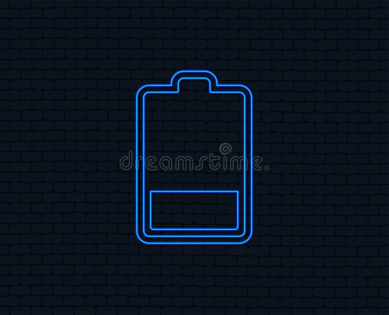 Battery low level sign icon. Electricity symbol. Neon light. Battery low level sign icon. Electricity symbol. Glowing graphic design. Brick wall. Vector royalty free illustration
