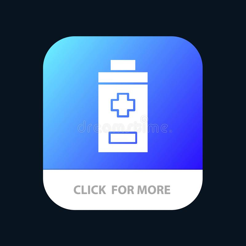 Battery, Minus, Plus Mobile App Button. Android and IOS Glyph Version royalty free illustration