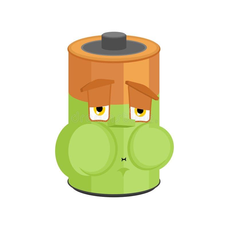 Battery Nausea Feeling sick emotion isolated. Sick accumulator Cartoon Style. ill Vector vector illustration