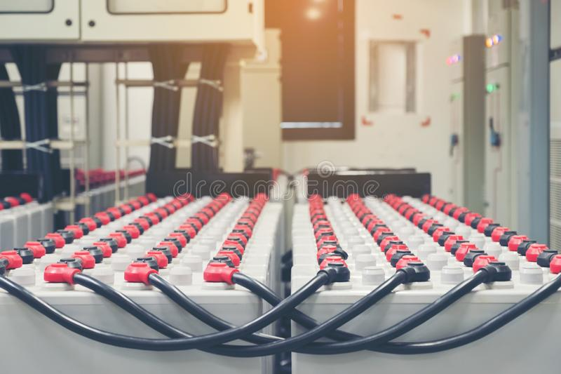 Battery pack in battery room in power plant for supply electricity in plant during shutdown phase, Rows of batteries in royalty free stock photography