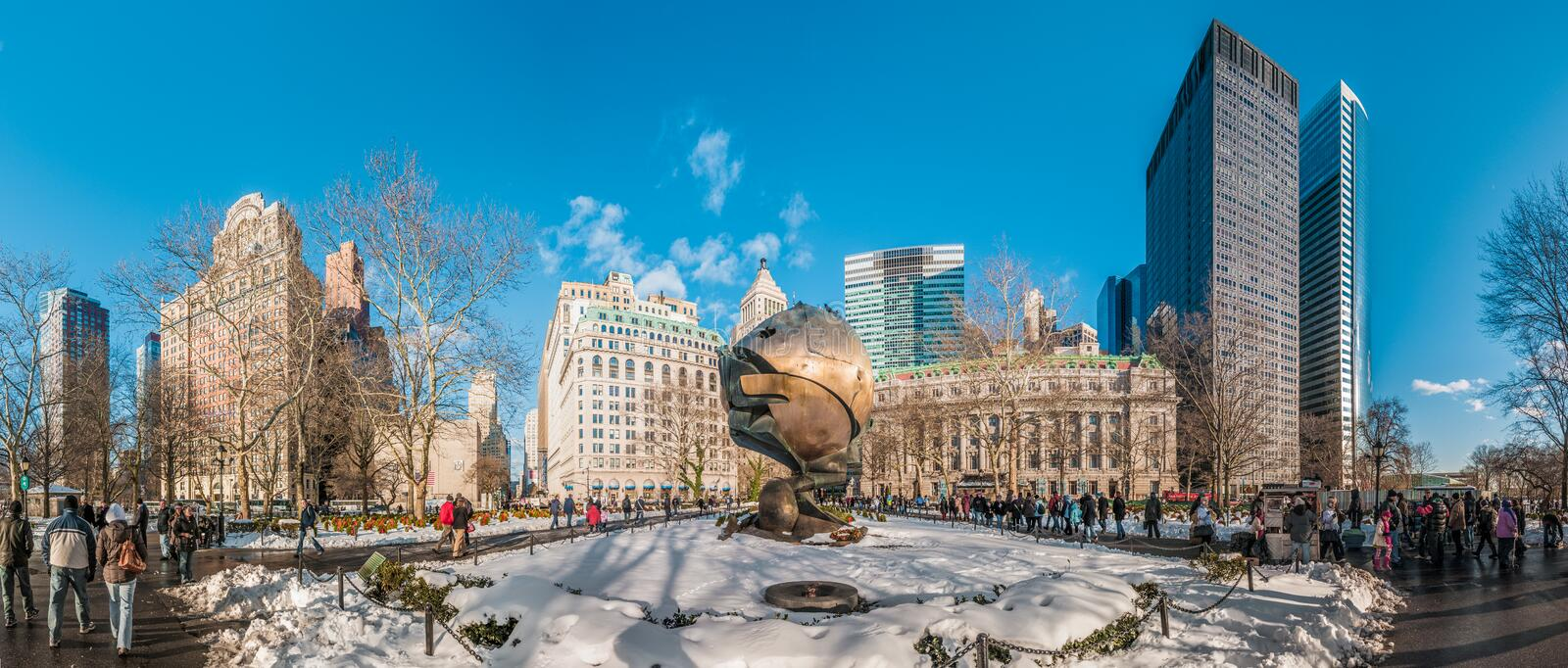 Battery Park in New York, United States of America. NEW YORK, UNITED STATES - DECEMBER 21, 2009: The Sphere, which once stood at the center of the plaza of the stock photography