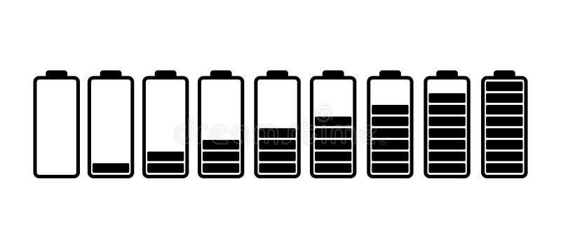 Battery power level icons set. On white background vector illustration