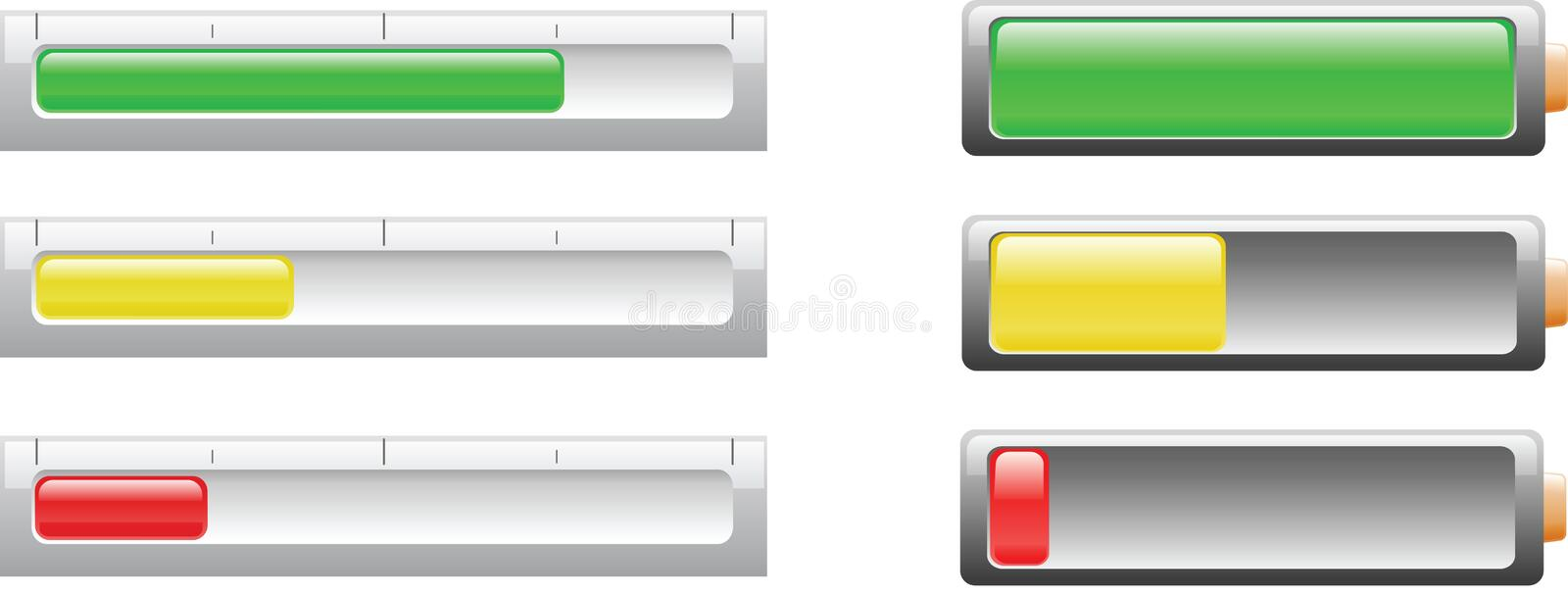 Download Battery Or Power Level Indicicators Stock Illustration - Illustration: 9102806