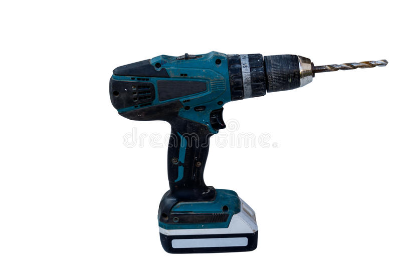 Battery-powered electric drill isolate on white background with. Old battery-powered electric drill isolate on white background with clippingpath royalty free stock photos