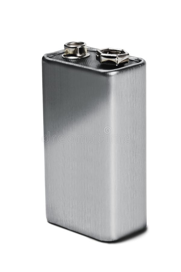 Battery PP3 on white isolated background. Concept of renewable energy and sources of electrical power. Pattern for designer of env. Ironmental power sources royalty free stock photo