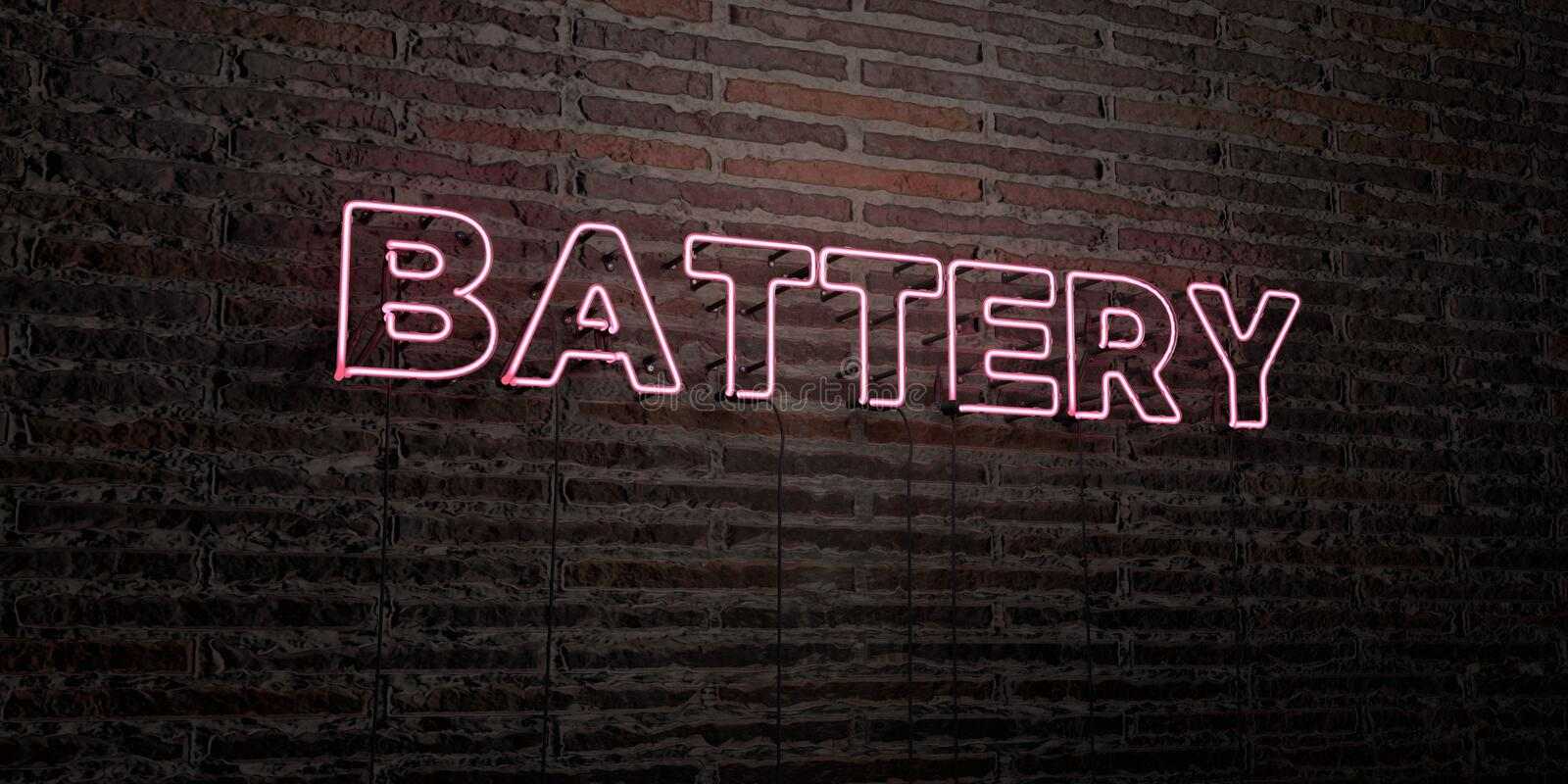BATTERY -Realistic Neon Sign on Brick Wall background - 3D rendered royalty free stock image stock illustration