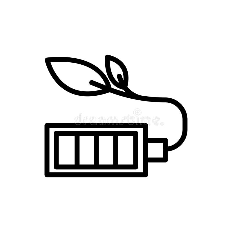 Battery saving outline icon.  illustration. Isolated on white background stock illustration