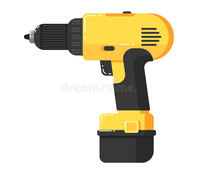 Battery screwdriver isolated on white background. Illustration. Drill in flat design. Electric hand tools for carpentry and home renovation. DIY. Construction royalty free illustration