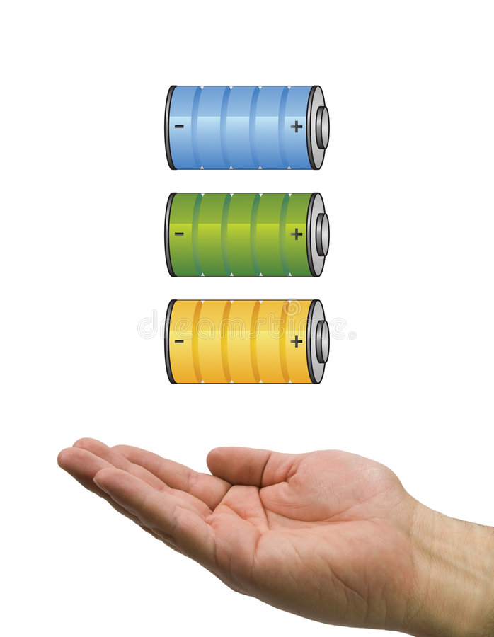 Download Battery set and hand stock illustration. Image of label - 7291675