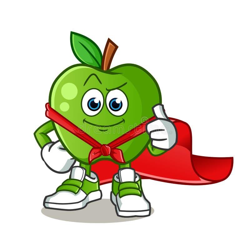 Green apple super hero mascot vector cartoon illustration stock image