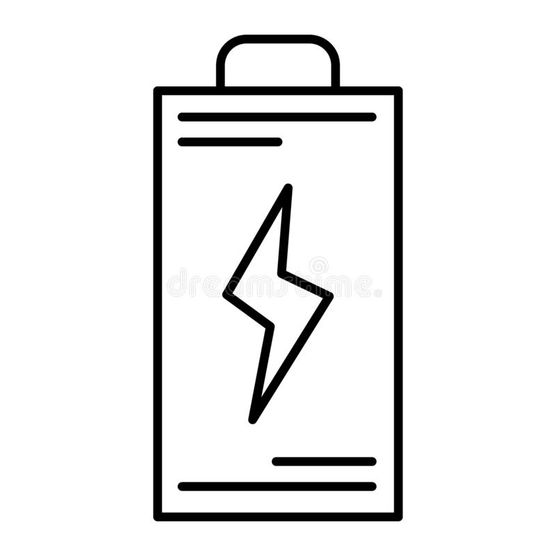 Battery thin line icon. Energy vector illustration isolated on white. Accumulator outline style design, designed for web. And app. Eps 10 vector illustration
