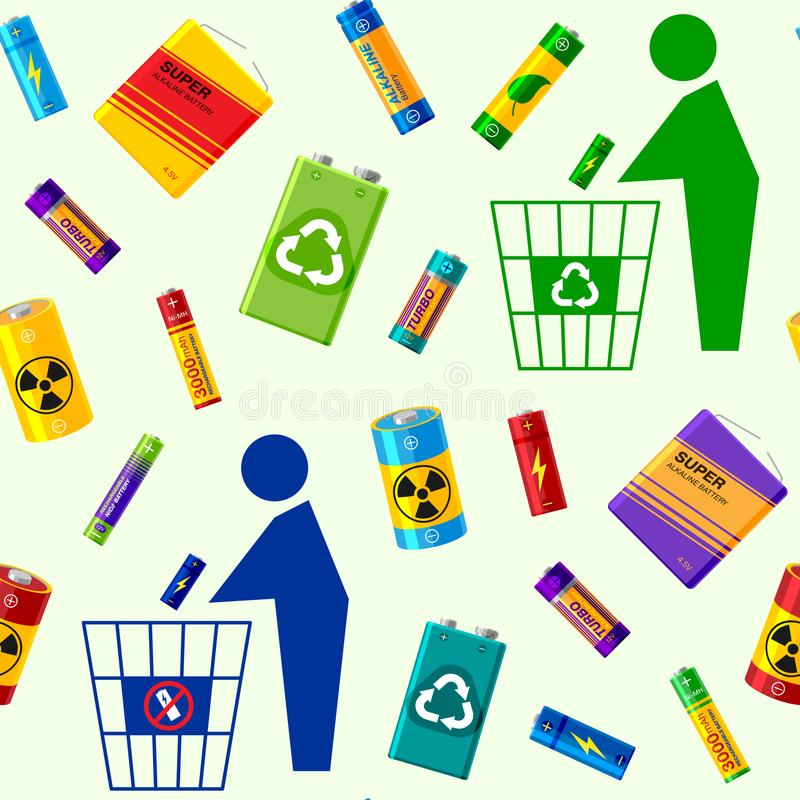 Battery utilization concept recycling energy power environment alkaline batteries heap seamless pattern background. Vector illustration. Rubbish bin recharge royalty free illustration