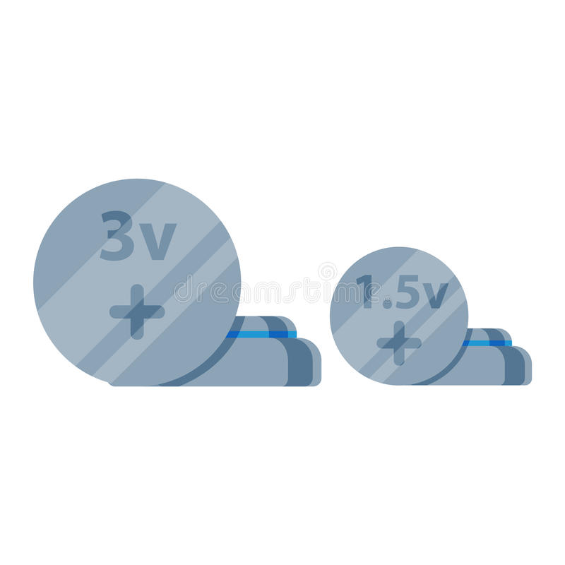 Battery vector icon isolated. Circle battery electricity charge technology and alkaline. Flat battery accumulator symbol generation voltage. Cirle battery royalty free illustration