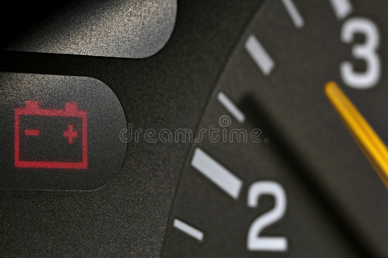 Battery warning light stock photography