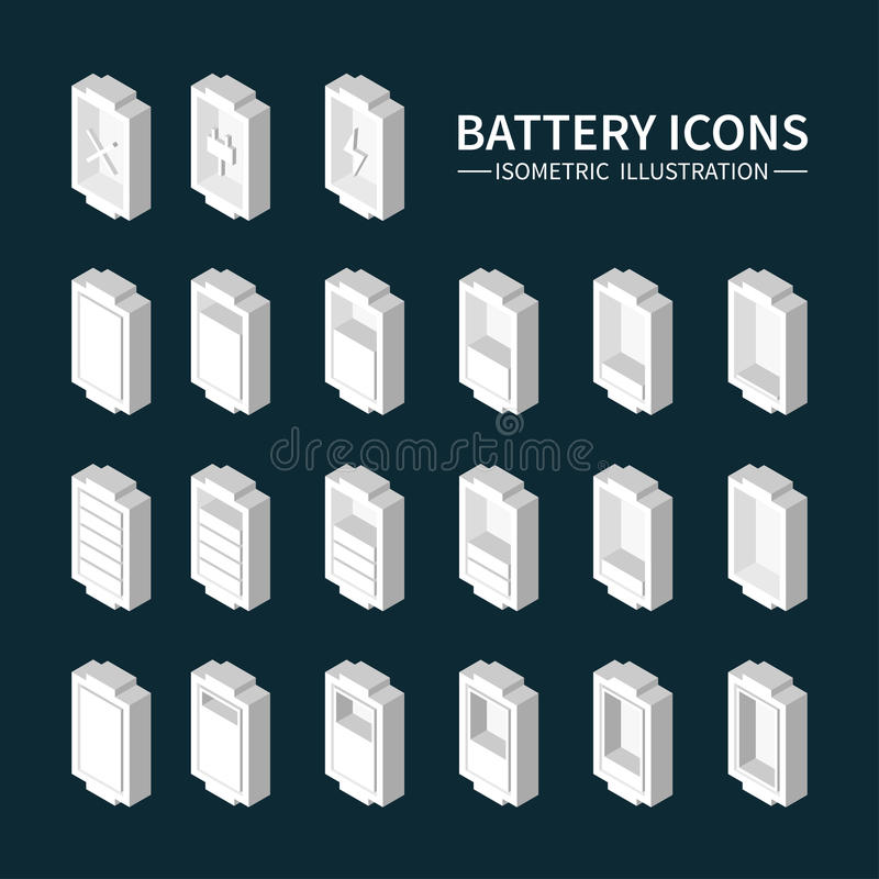 Battery web icons, symbol, sign and design royalty free illustration