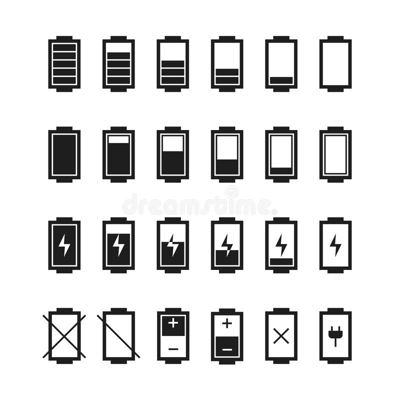 Battery Web Iconssymbolsign In Flat Style Stock Vector
