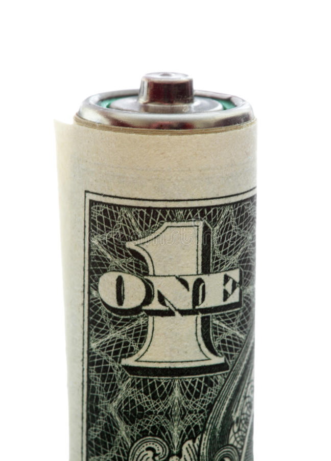 Download Battery Wrapped In A Dollar Bill Stock Image - Image of electricity, bill: 13347801