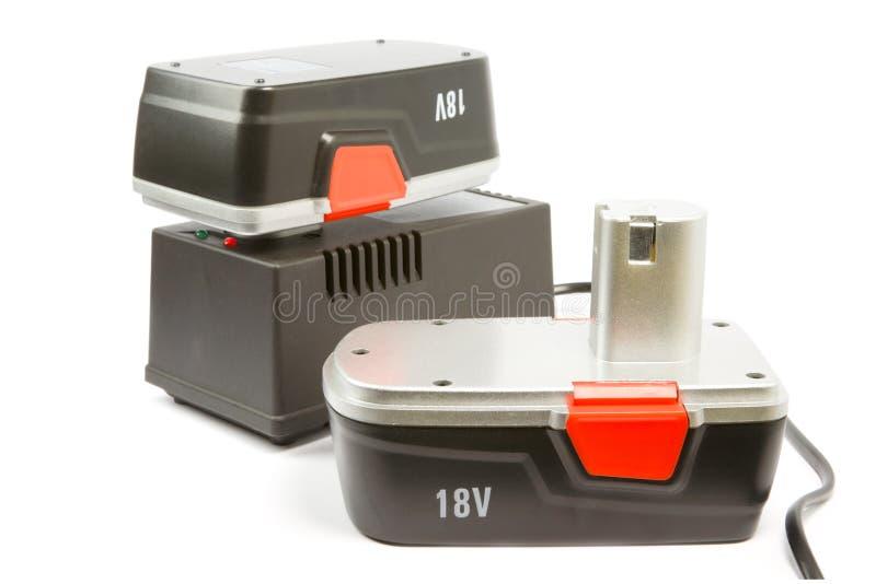 Batterys e carregador de Rechargeble imagens de stock