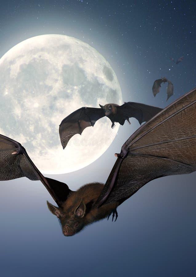 Battes avec la pleine lune illustration stock