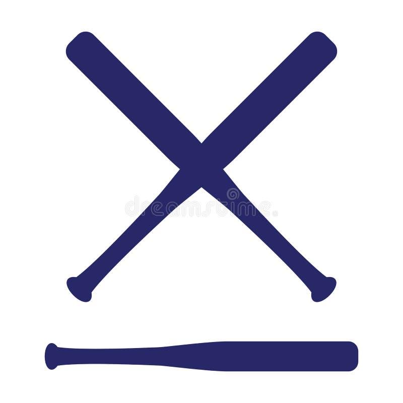 Battes croisées par base-ball Battes de croix de Criss Illustration plate de vecteur illustration stock