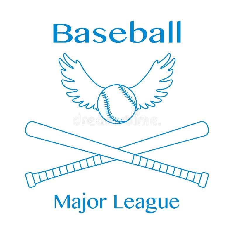 Battes de baseball, boule avec l'illustration de vecteur d'ailes illustration de vecteur